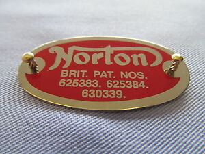 NORTON DOMINATOR ATLAS 500 650SS LEFT HAND CRANKCASE PATENT PLATE BADGE 15399