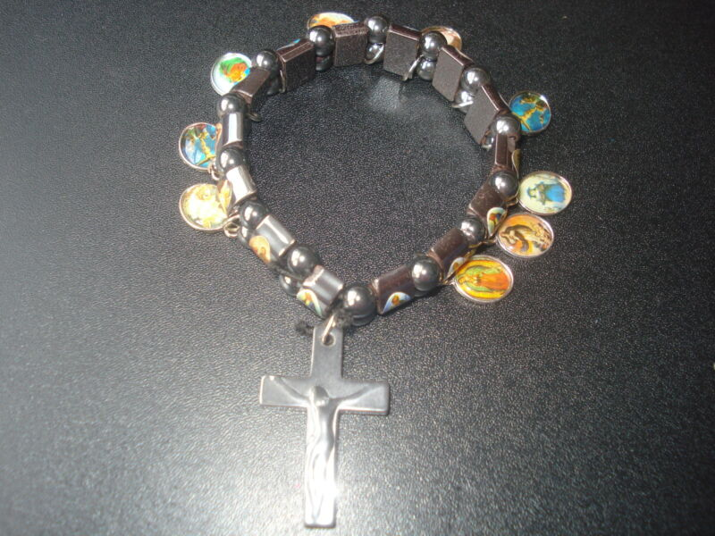 (2M3) BEAUTIFUL HOLY SAINTS HEMATITE STREATCHABLE CHARMS  BRACELET(USA SELLER)