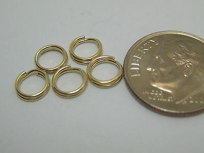Solid 14k Yellow Gold 8mm Split Ring Findings Lot of 5 Pieces Made In USA