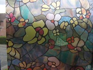 RED-BLUE-STAINED-GLASS-FLOWER-WINDOW-STICKY-BACK-PLASTIC-VINYL-FILM-SELF-ADHESI