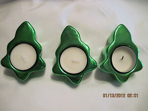 Christmas-Tree-Tealight-Candle-Holders-with-candles-set-of-3-sold-by-Avon