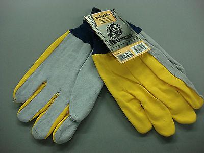 Ironcat Men's Leather Palm Gloves Large Yellow/grey 1 Pair 65