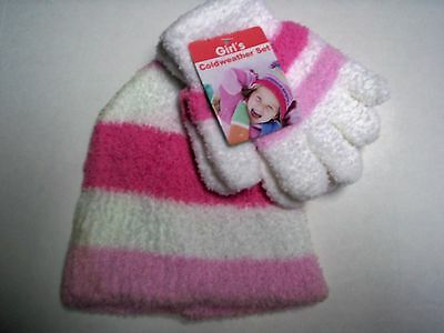 Glove & Hat Set, One Size Fits Most, White, Hot Pink, & Light Pink,