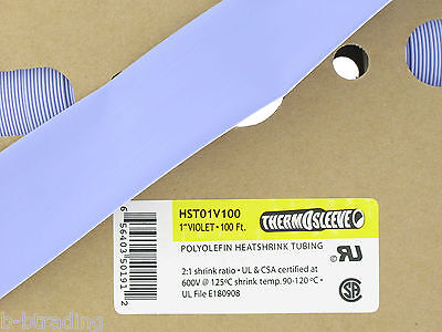 100 Ft Roll 1 Id 25mm Thermosleeve Violet Polyolefin 21 Heat Shrink Tubing