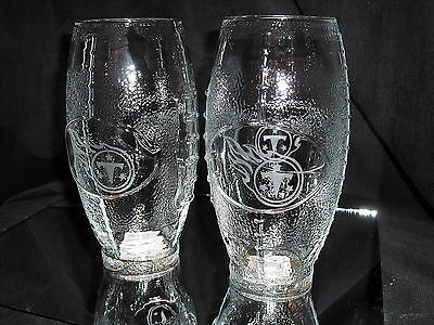 TENNESSEE TITANS 2 ETCHED LOGO FOOTBALL GLASSES 23 oz NEW