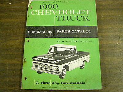 OEM 1960 Chevrolet Truck Pickup Master Parts Book Suppliment 1/2 - 2 1/2 Ton
