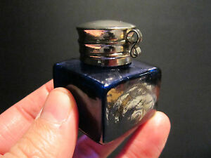 19th C Antique Style Solid Thick Glass Cobalt Blue Inkwell Ink pot Bottle
