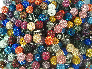 Hot-A-colors-mix-clay-Czech-Crystal-10MM-Disco-Ball-Shamballa-Rhinestone-beads