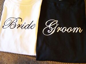 BRIDE-AND-GROOM-T-SHIRTS-2-NEW-SHIRTS-GREAT-GIFT-IDEA-SHOWN-ON-TV