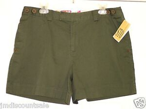 MISSES SUSQUEHANNA TRAIL OUTFITTERS Cotton Short-Shorts Sz 14 Olive Green NWT