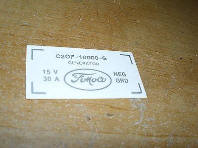 1962 1963 1964 Ford Econoline Ranchero F100 F150 F250 F350 Generator Decal