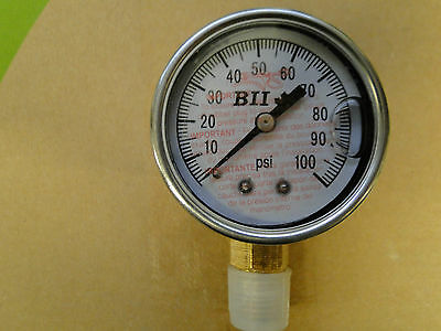 "Pressure Gauge NO LEAD Liquid GLYCERIN Filled 1/4"" 100psi 2"" Water Well Tank"