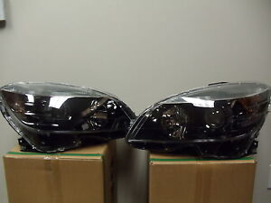 MERCEDES C CLASS 2008 2009 2010 2011 BLACK HEADLIGHTS HEAD LIGHTS LAMPS PAIR