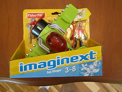 Imaginext Sky Racers Airplane Sea Stinger Wing-flapping Action Plane Man Pilot Toys