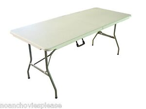6' FOLDING FOLDS IN HALF RETAIL DISPLAY TRESTLE BANQUETING TABLE 300KG+ LOAD NEW