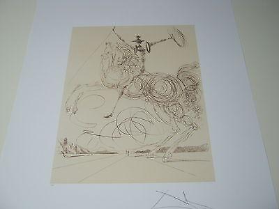 """Salvador Dali """"DON QUIXOTE"""" In Sepia Limited Edition Lithograph Facsimile Signed"""