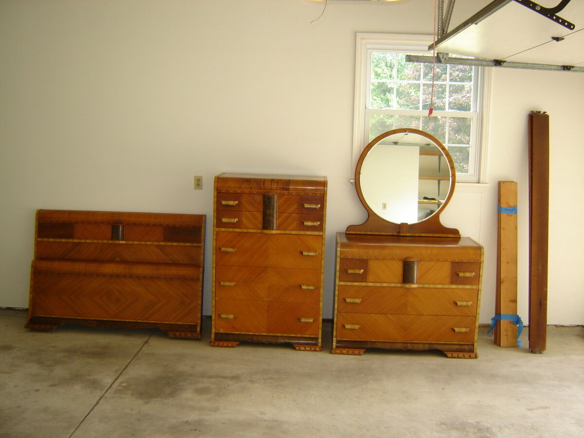 Antique Art Deco Waterfall Bedroom Suite Full Size Two Dressers 1920 1930s