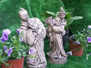 japanese oriental samuari & geisha pair antiqued stone ornaments 35cm tall koi