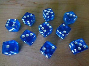 Lot of 12 Blue Transparent 16mm 16 mm D6 Dice Square Gaming Casino D 6