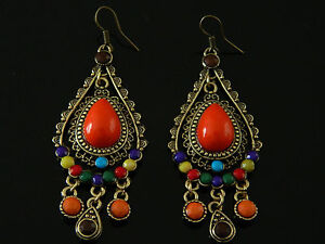 Hot-Fashion-Vintage-Earrings-Orange-Colourful-Long-Drop-Dangle-Earrings-VE5