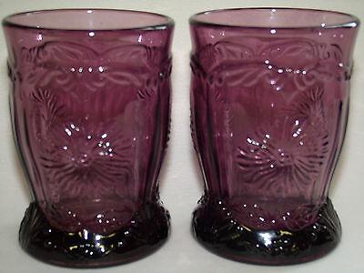 pair of purple amethyst glass Dahlia pattern tumblers cups goblets black flowers