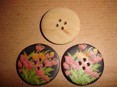 3 Stück  Knöpfe Holz bunt  bemalt 30mm K121.16