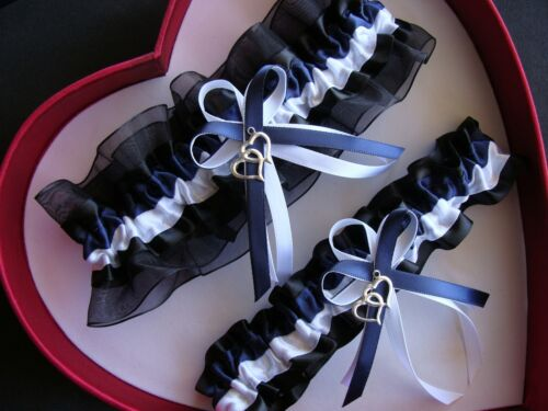NEW Navy Blue White Black Wedding Garter SELECT SingleSetRegPlus SizeCharm