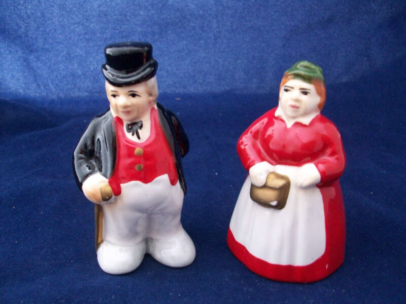 Salt Pepper Shakers Man Top Hat Tails Woman Ceramic Omnibus Unique