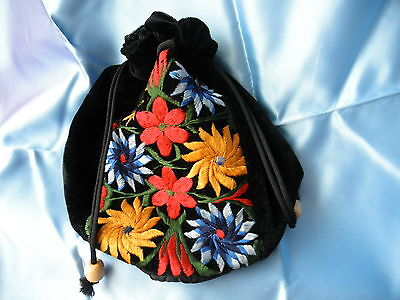 Guatemala Small Black Velour Red Blue Gold Embroidered Pouch Sack Handbag