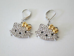 Hello-Kitty-Gold-silver-Stainless-steel-14G-dangle-hanging-earrings-jewelry