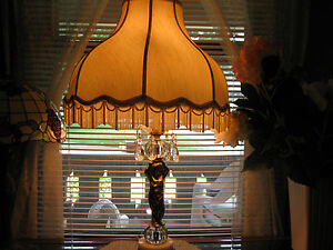 Vintage Brass Ornate lamp with Cherub and hanging crystals, with fringed shade