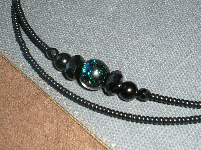Dichroic glass beads with black crystal beads -- Eyeglass holder chain
