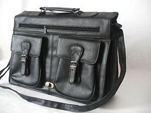 Vintage-Black-Leather-Business-Briefcase-Satchel-Shoulder-Messenger-Man-Bag-New