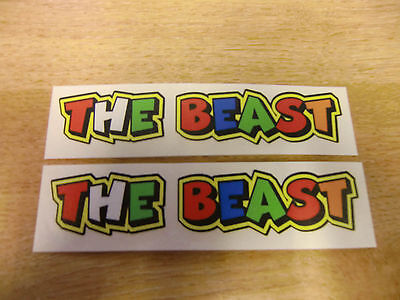 """Valentino Rossi style text - """"THE BEAST""""  x2 stickers / decals  - 5in x 1in"""
