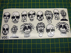 SHEET OF 14 SKULL STICKERS BMX MONGOOSE HOFFMAN V005 ALL MODELS