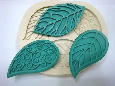 Silicone Mold Mould for Sugarcraft,Cup Cake, Clay -Ellegance Leaves