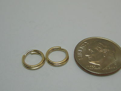 2 Pieces Solid 14K Yellow Gold 8MM Split Ring Findings For Charms Made In USA