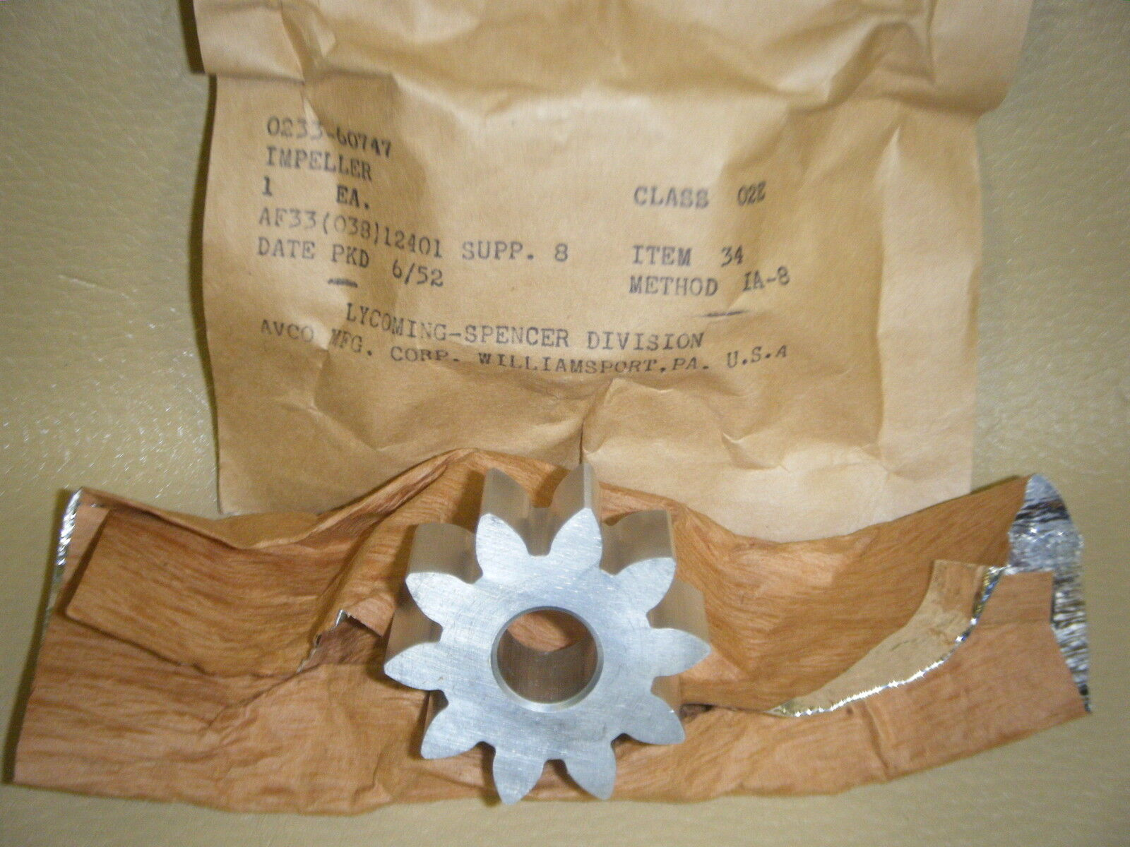 Lycoming Oil Impeller Gear, All Engines Pn 60747 - Price - Free Ship Nip