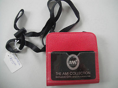 Ami Id Travel Express Leather Neck Pouch Tickets Passport Holder Red