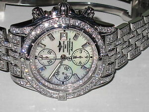 Mens-Breitling-Chronomat-Evolution-Diamonds-Everywhere-Display-Model