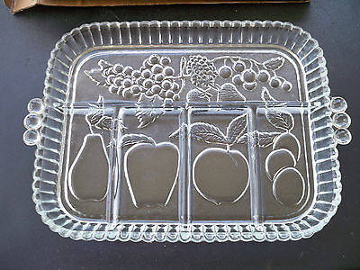 """Indiana Glass Vintage 5 Part Relish Tray mint in box Clear 12 3/4"""" x 9"""""""