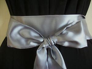 2-5x100-DARK-SILVER-GREY-SATIN-WRAP-AROUND-SASH-BELT-BOW-UPDATE-DRESS-WEDDING