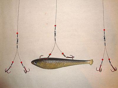 60 Ice Fishing Bleeding Quick Strike / Smelt Rig 3-pack Tip Up Leader Pike