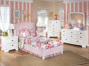 youth twin full pink upholstered bed children kids bedroom set white