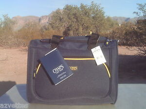 NEW-Navy-Blue-Yellow-Accents-CHAPS-Travel-Luggage-Carry-On-Overnight-100-tag