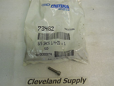 Fastenal 73462 S S Shcs 1 4 20 X 1 Stainless Hex Head Bolts New Package Of 50