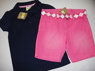 Crazy 8 Navy Blue Polo Top & Pink Denim Jean Bermuda Shorts Xs 4 4t