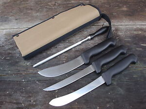 Forsyth-boning-skinning-filleting-knives-steel-canvas-cover-Fantastic-set