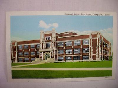 Vintage Postcard Roosevelt Junior High School Coffeyville Kansas Unused