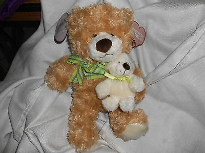 Family Christian Stores Tan Cream Rust 14 Holding Little 6 Teddy Bear Lovey